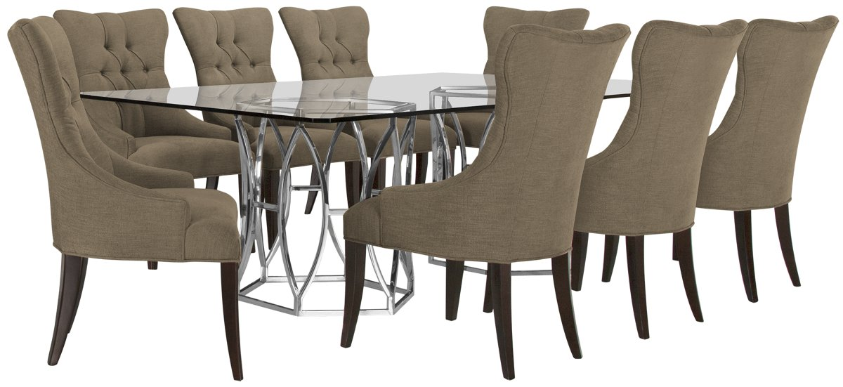 Argent Khaki Rect Table & 4 Upholstered Chairs