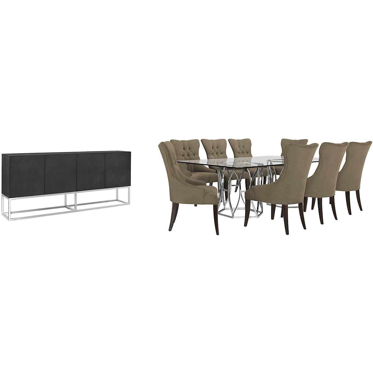 Argent Khaki Glass Rect Dining Room