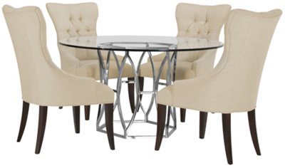 Argent Light Beige Round Table U0026 4 Upholstered Chairs