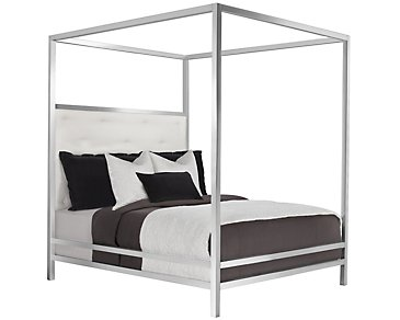 Landon White Metal Canopy Bed