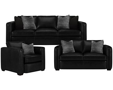 Newburg Dark Gray Leather Living Room