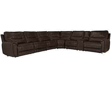 Nico Dark Brown Microfiber Large Two-Arm Power Reclining Sectional