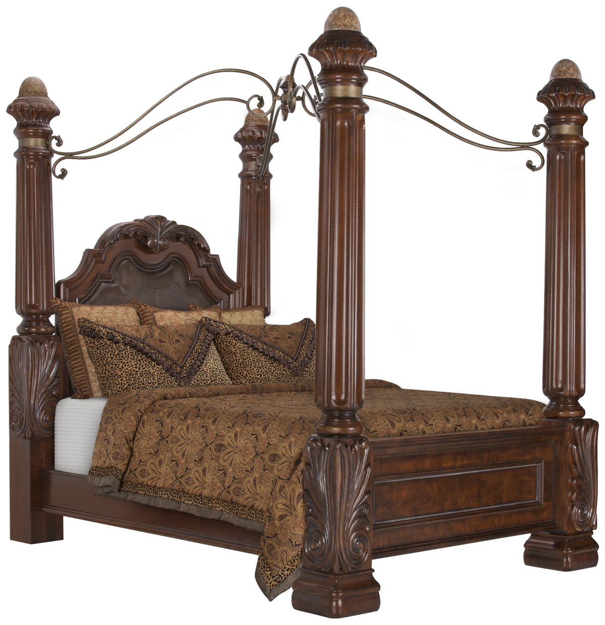 Dark Wood Canopy Bed city furniture: regal dark tone leather canopy bed