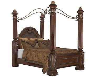 Regal Dark Tone Leather Canopy Bed