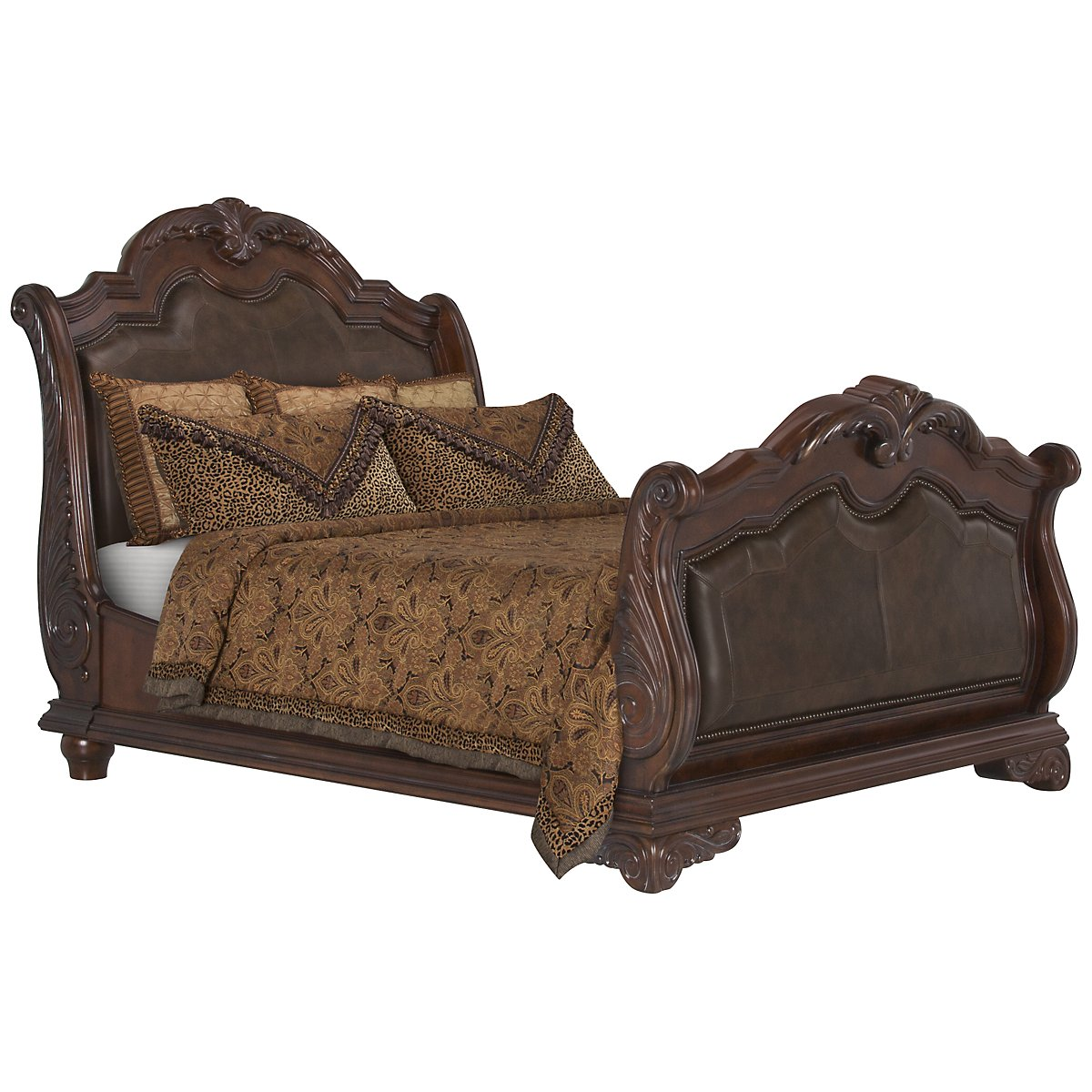 City Furniture Regal Dark Tone Leather Sleigh Bed