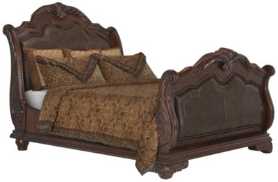 regal dark tone leather sleigh bed
