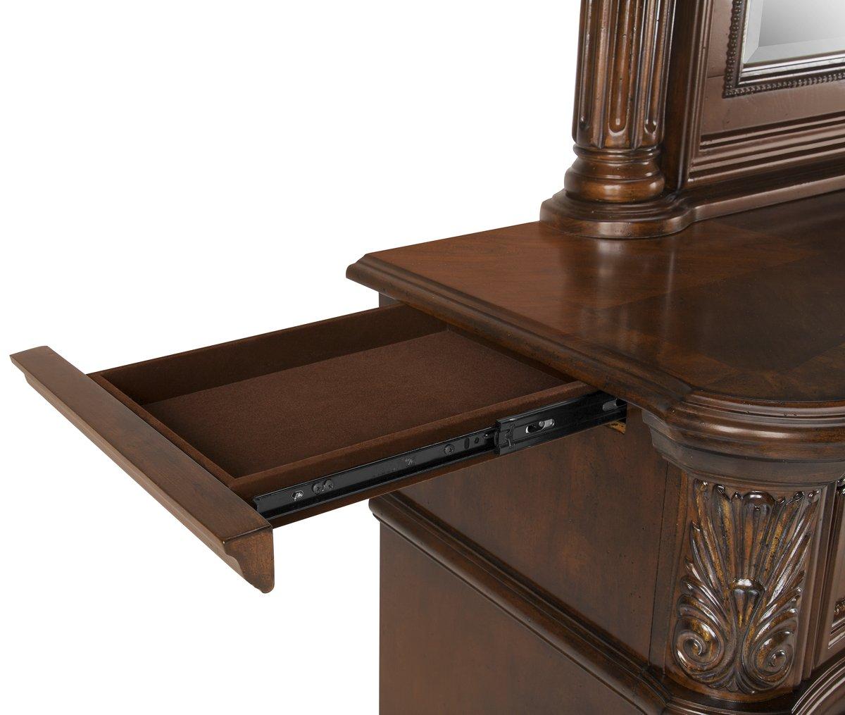 Regal Dark Tone Wood Dresser & Mirror