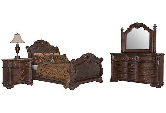Regal Dark Tone Leather Sleigh Bedroom
