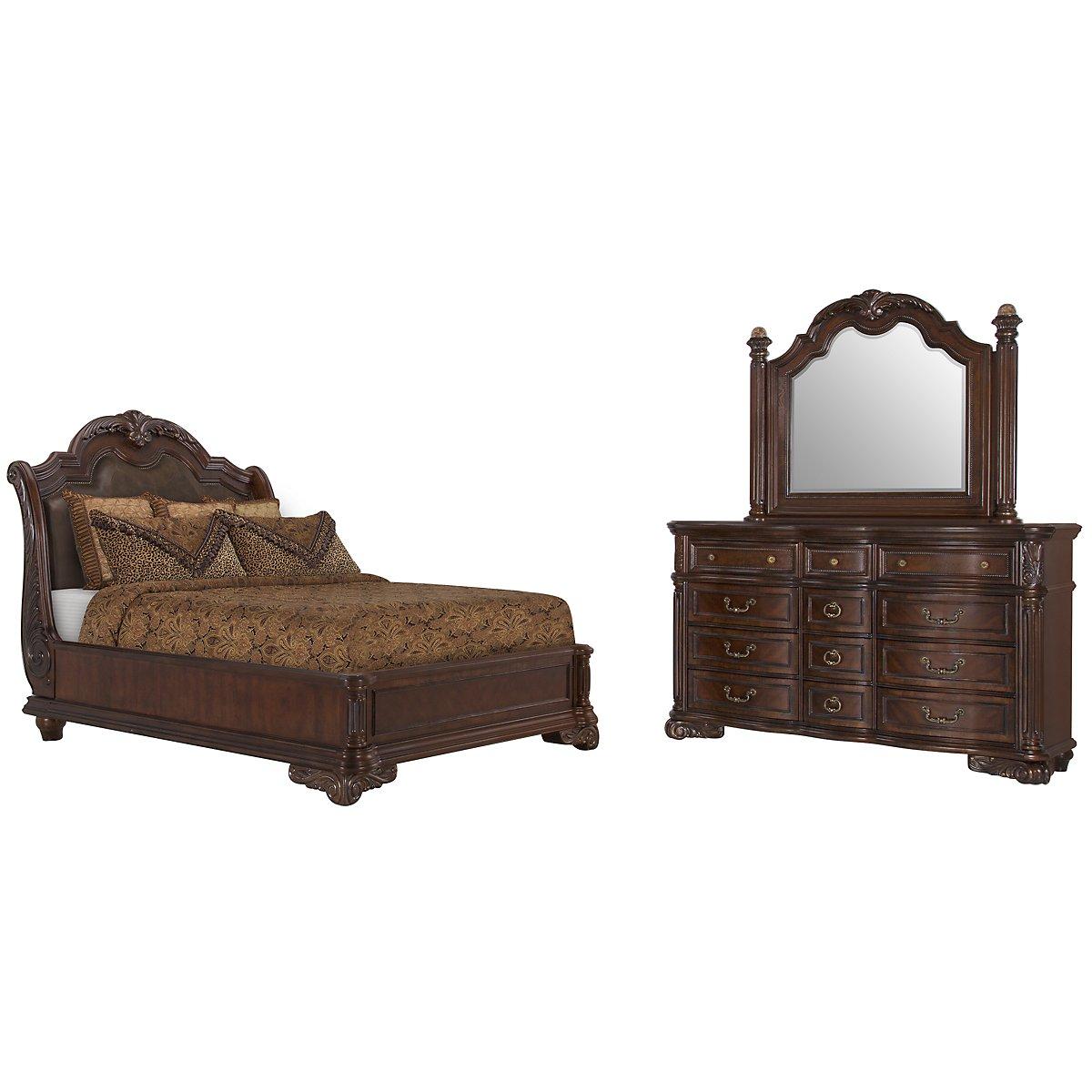 City Furniture Regal Dark Tone Leather Platform Bed