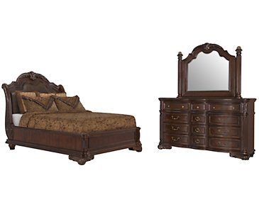 Regal Dark Tone Leather Platform Bedroom