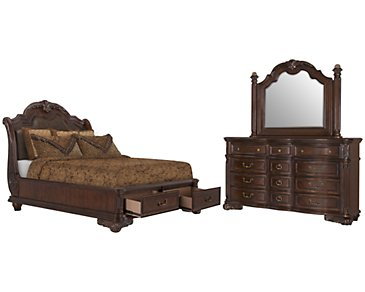 Regal Dark Tone Leather Platform Storage Bedroom