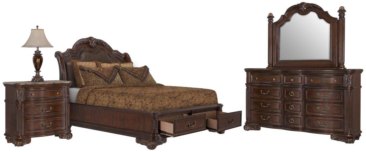 Regal Dark Tone Leather Platform Storage Bedroom
