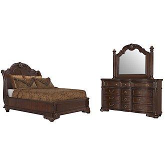 Regal Dark Tone Wood Platform Bedroom