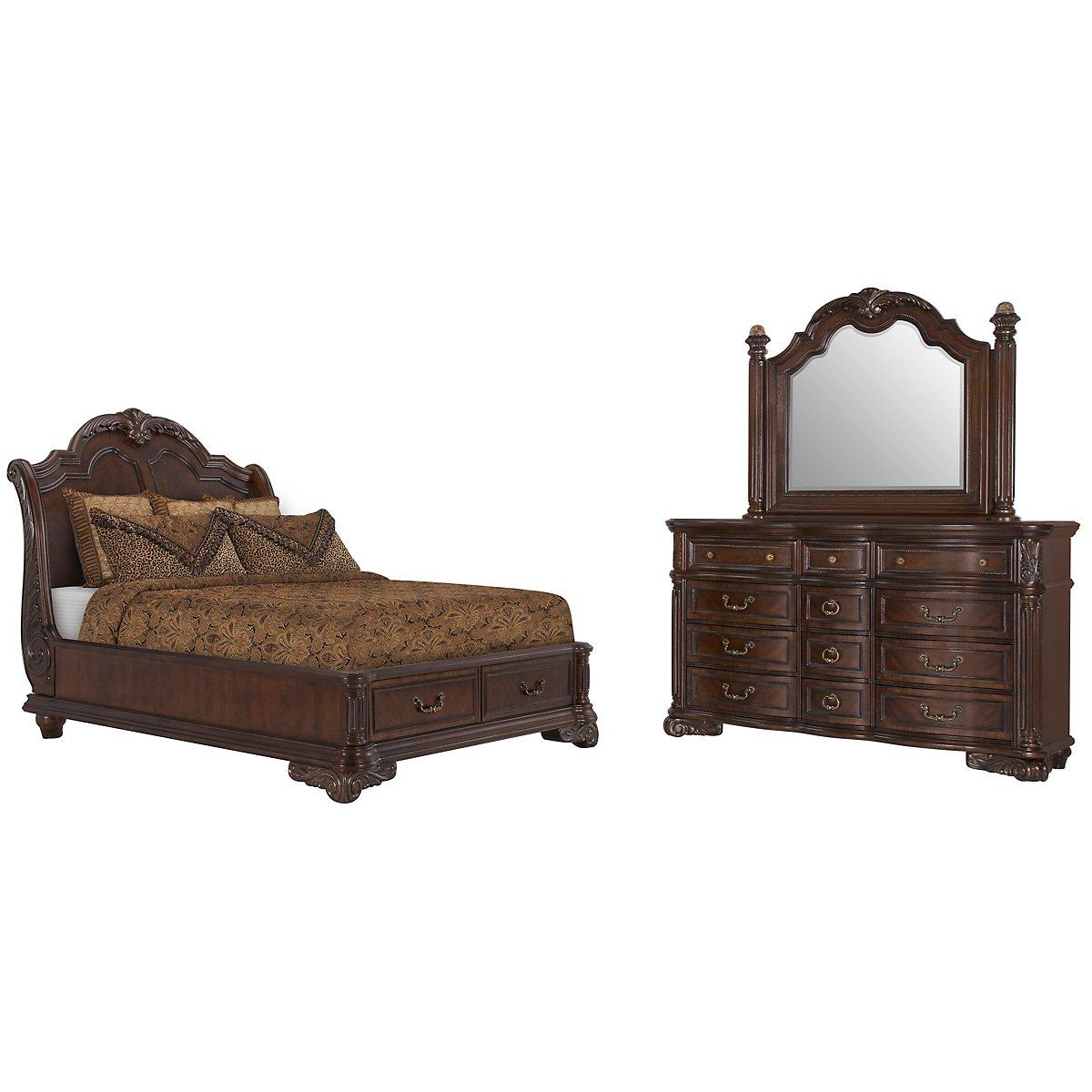 Regal Dark Tone Wood Platform Storage Bedroom