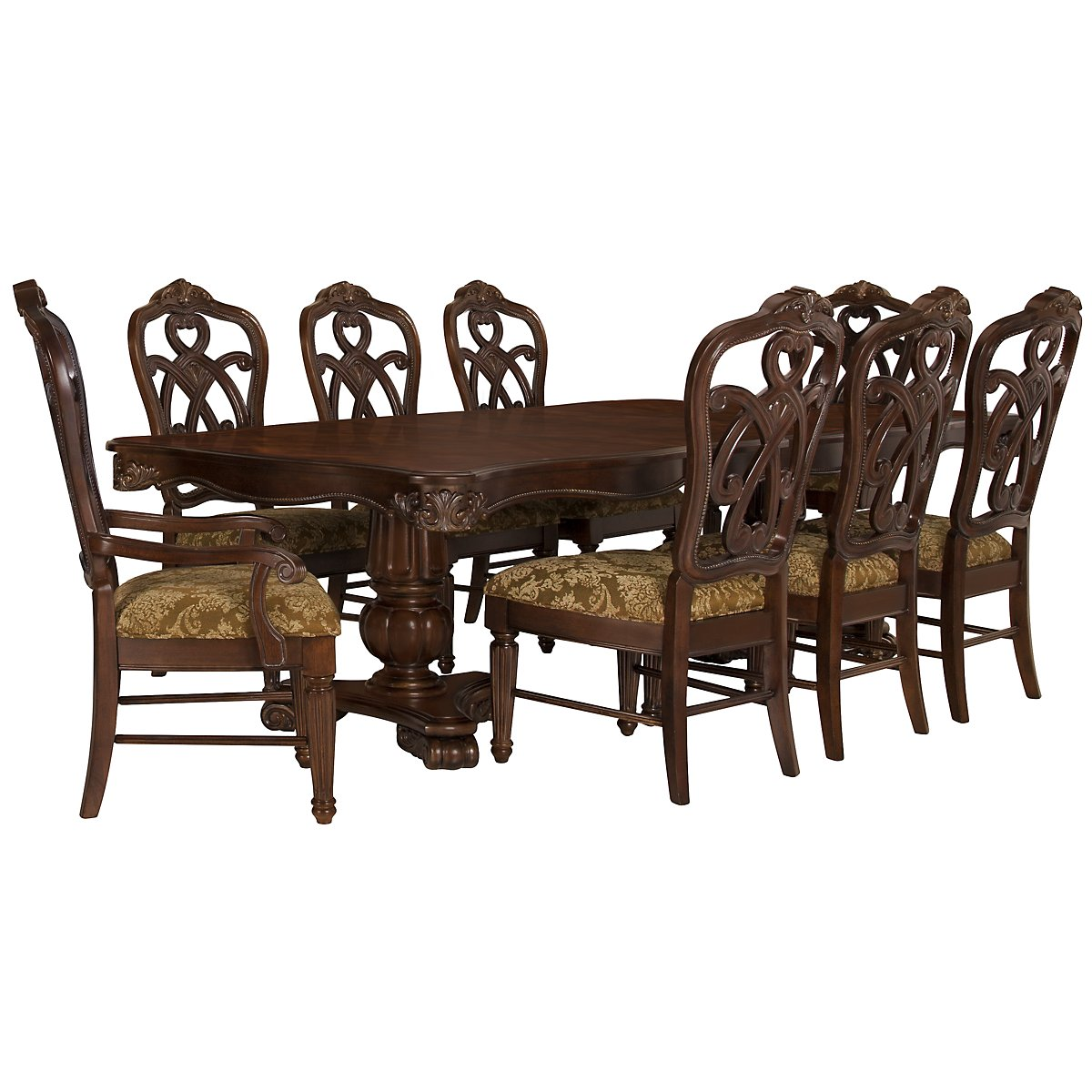 Regal Dark Tone Wood Table & 4 Wood Chairs