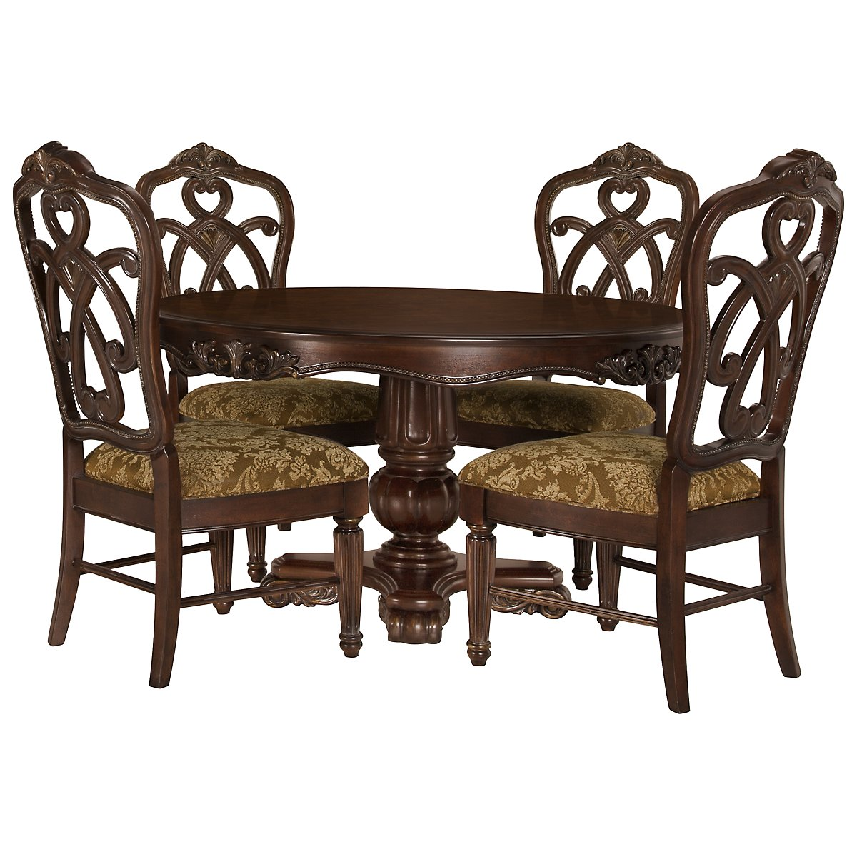Regal Dark Tone Round Table & 4 Wood Chairs