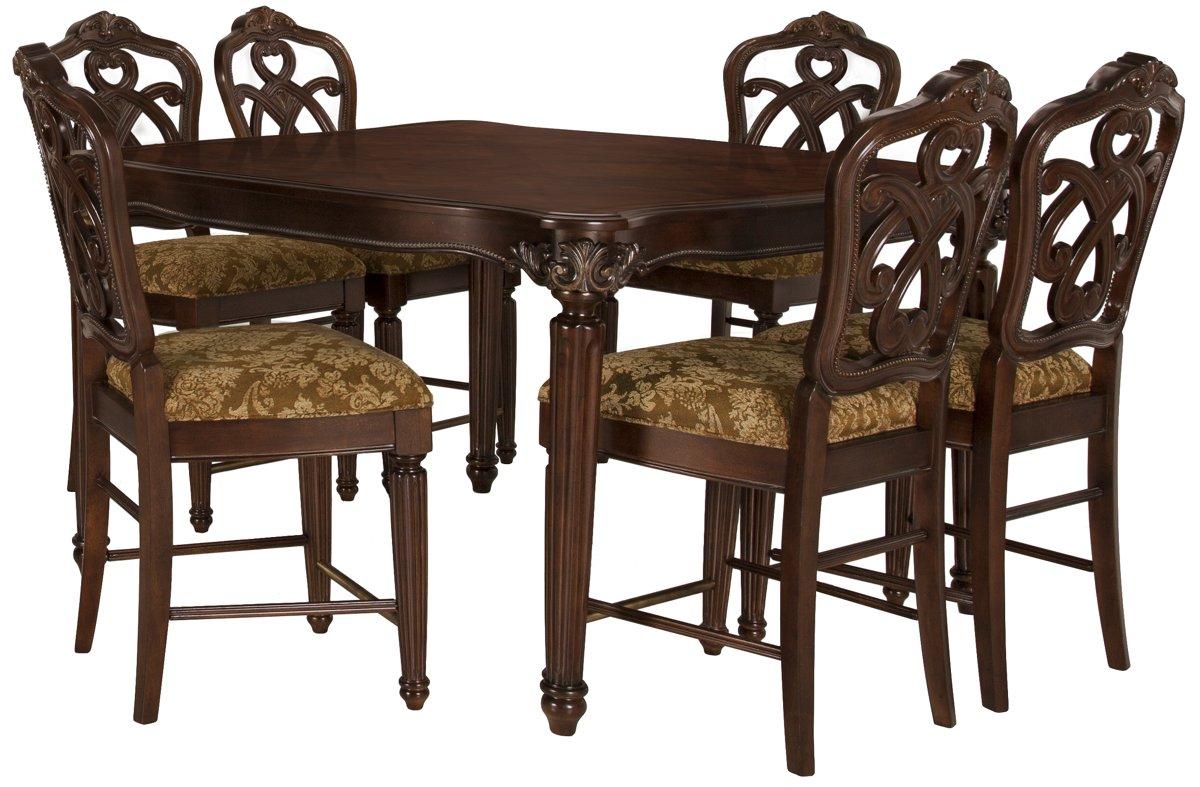Regal Dark Tone Wood High Table & 4 Wood Barstools