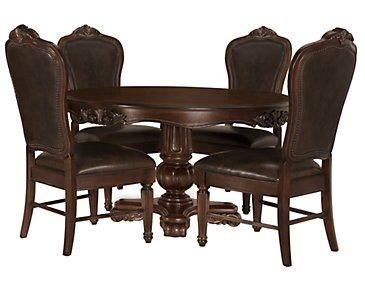 Regal Dark Tone Round Table & 4 Leather Chairs