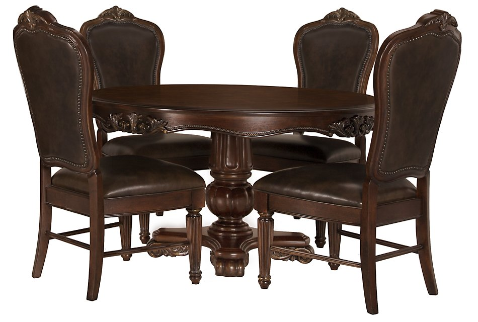 Excellent Regal Dark Tone Round Table 4 Leather Chairs Dining Room Pdpeps Interior Chair Design Pdpepsorg