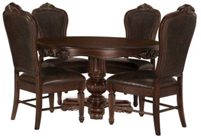 Regal Dark Tone Round Table U0026 4 Leather Chairs