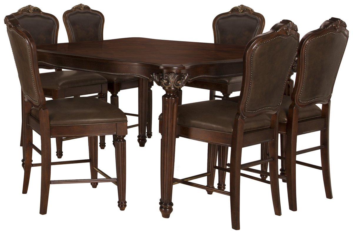 Regal Dark Tone Leather High Table & 4 Leather Barstools