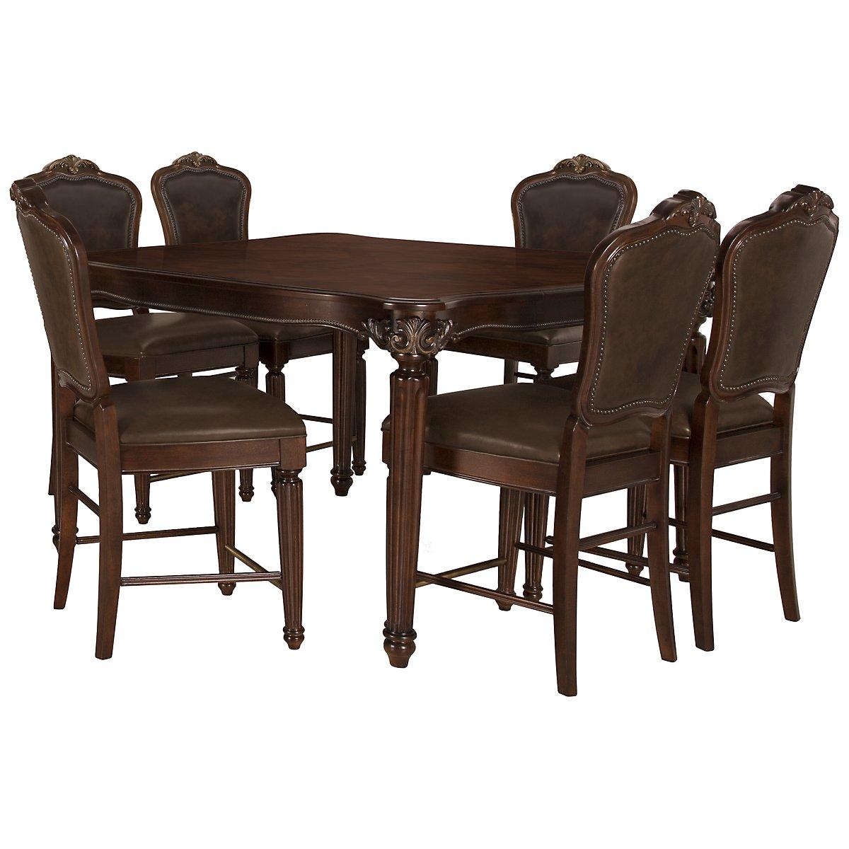 Regal Dark Tone High Table & 4 Leather Barstools