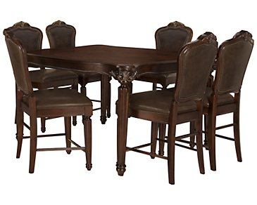 Regal Dark Tone High Table & 4 Leather Barstools
