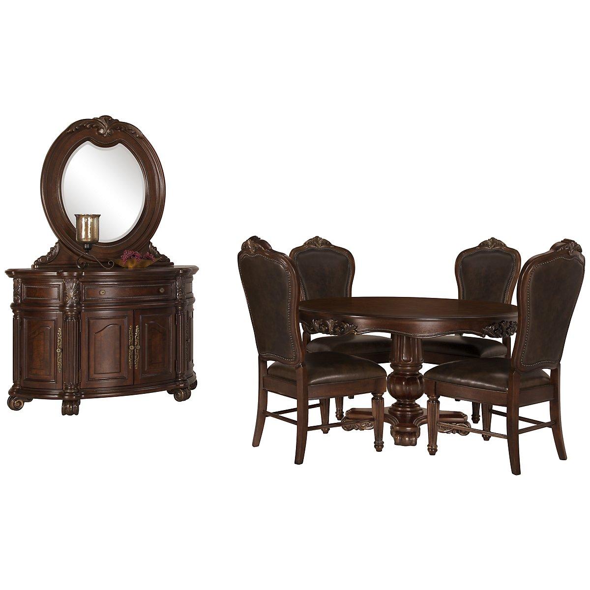 Regal Dark Tone Leather Round Dining Room