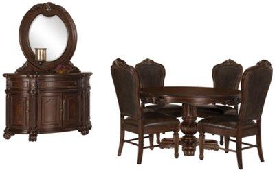 Regal Dark Tone Round Table U0026 4 Leather Chairs. Regal Dark Tone Round Table  U0026 4 Leather Chairs