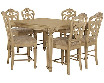 Regal Light Tone High Table & 4 Wood Barstools