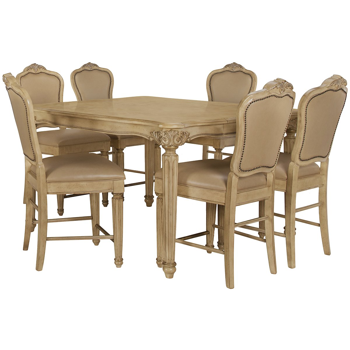 Regal Light Tone High Table & 4 Leather Barstools