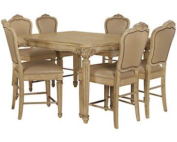 Regal Light Tone High Table & 4 Leather Barstools