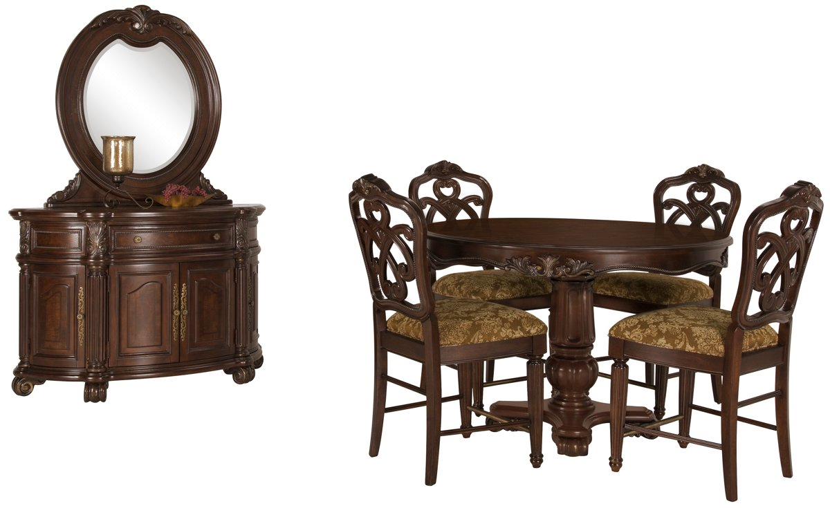 Regal Dark Tone Leather High Dining Room