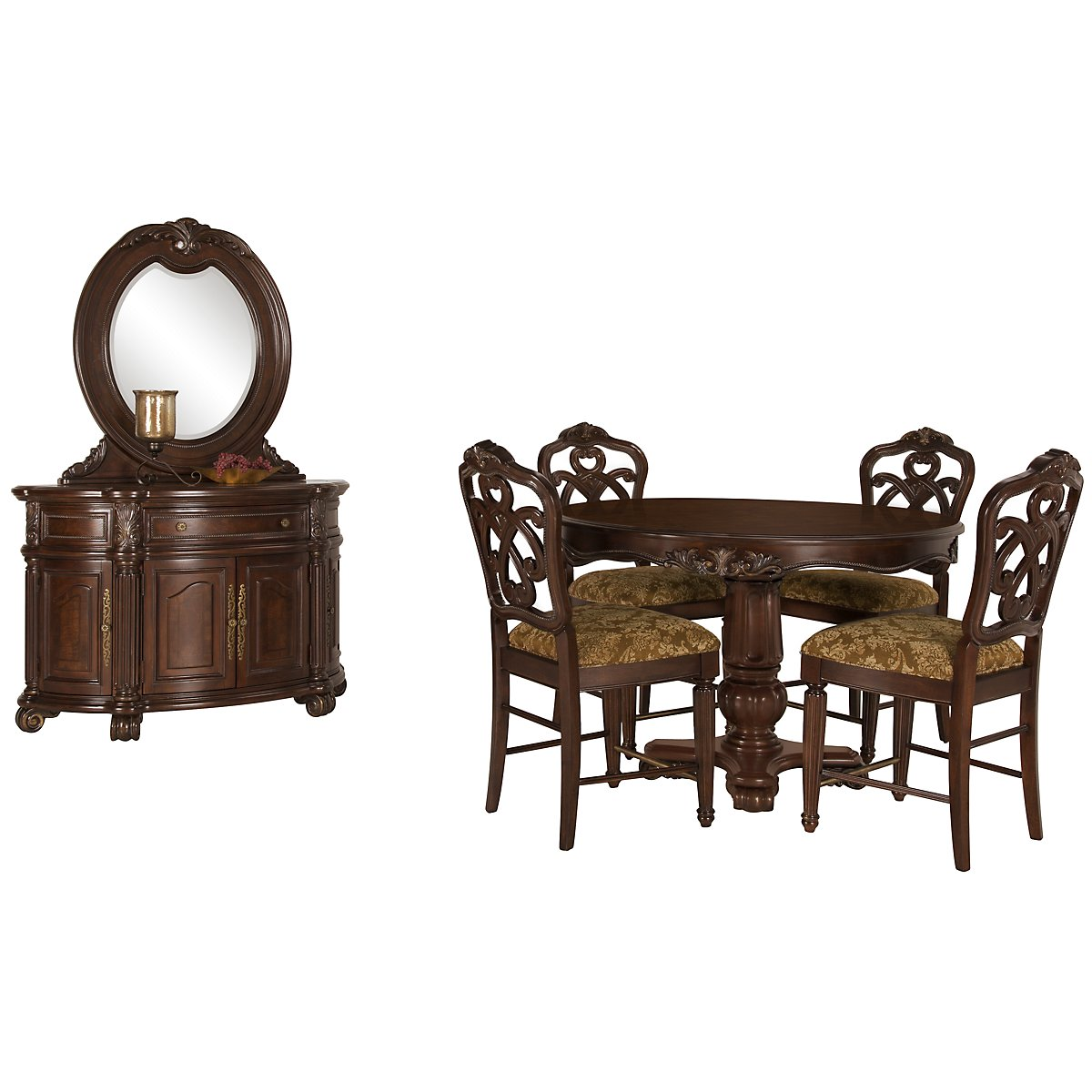 Regal Dark Tone Leather Round High Dining Room