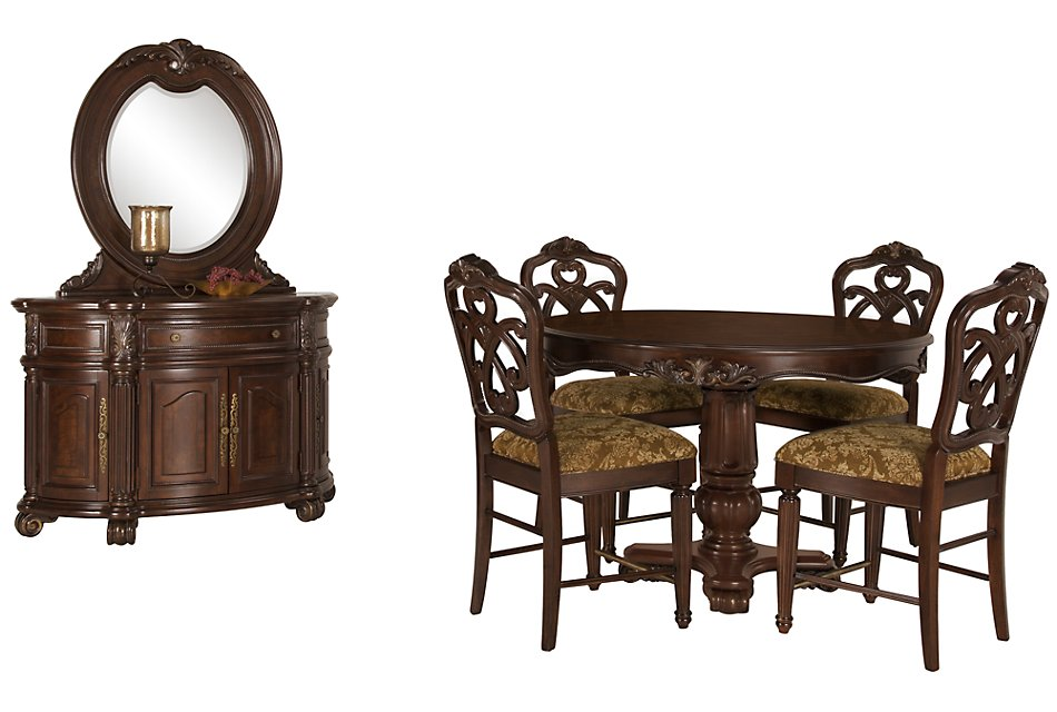 Regal Dark Tone Leather High Dining Room