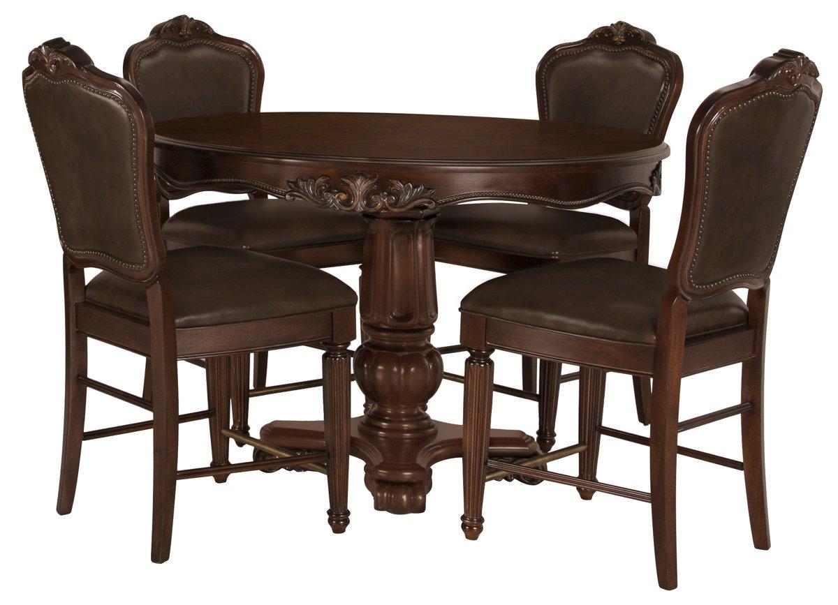 Regal Dark Tone Round High Table & 4 Leather Barstools
