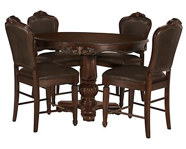 Regal Dark Tone Round High Table & 4 Leather Barstools