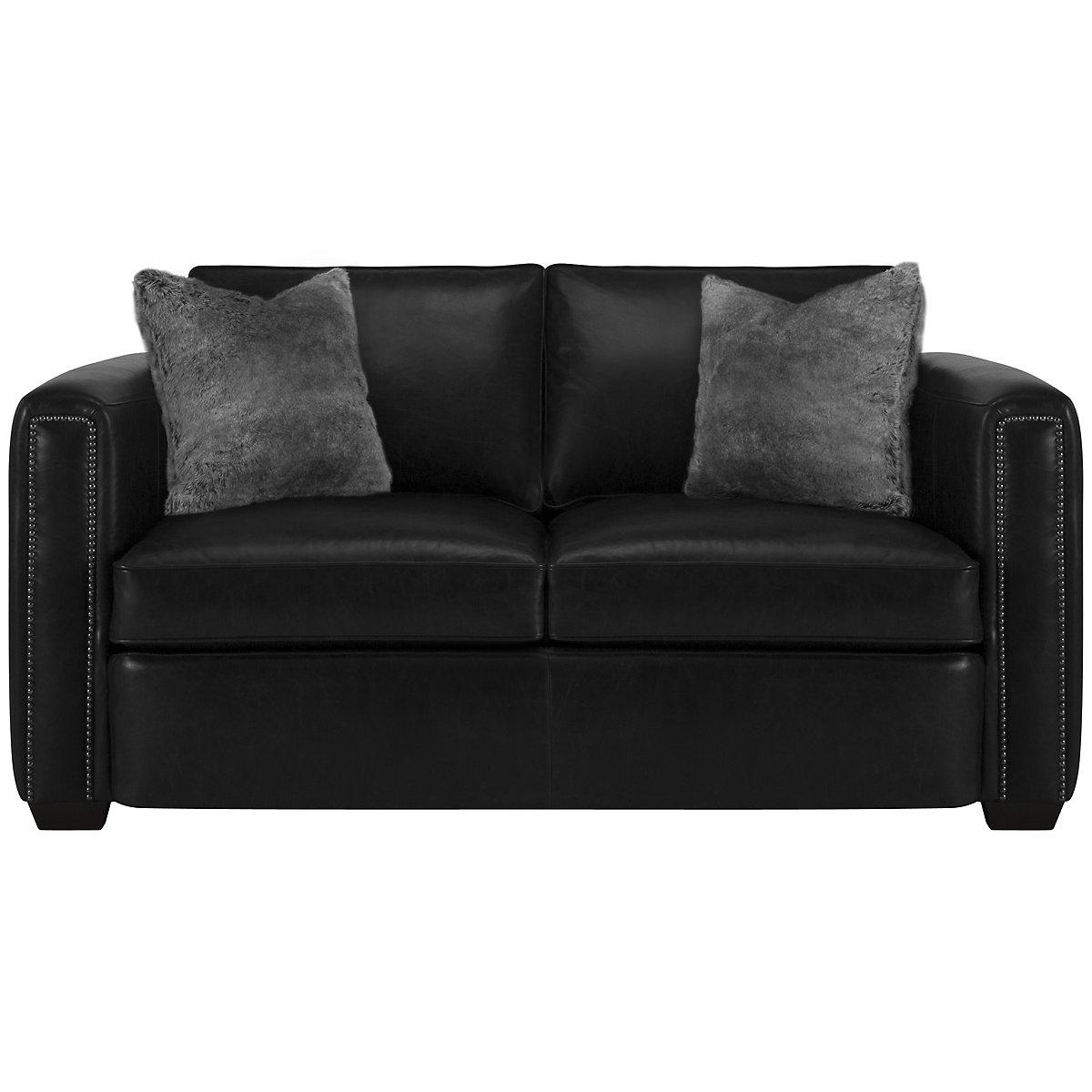 Newburg Dark Gray Leather Loveseat