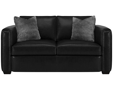 Newburg Dark Gray Leather Loveseat