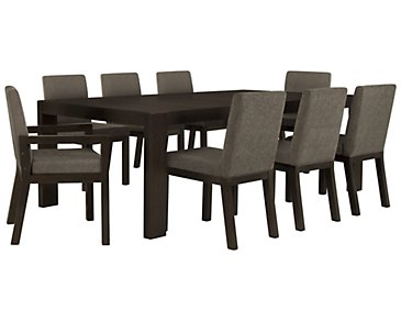 Tocara Dark Tone Rectangular Table & 4 Upholstered Chairs