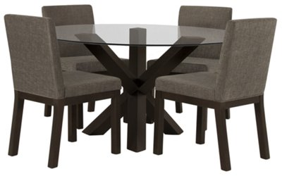 Tocara Dark Tone Round Table U0026 4 Upholstered Chairs