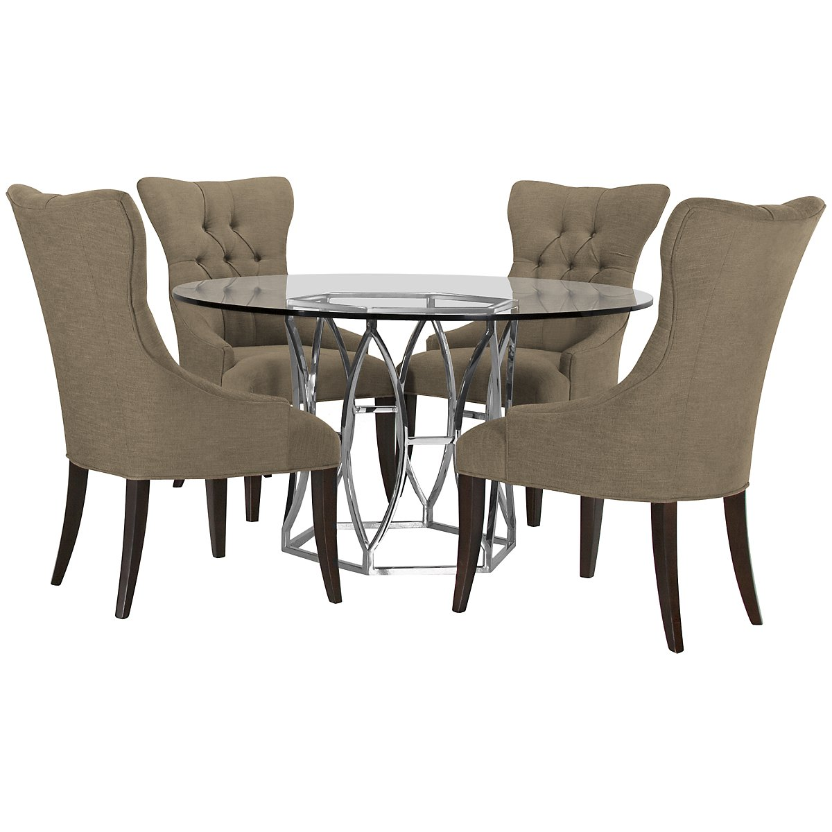 Argent Khaki Glass Table & 4 Upholstered Chairs