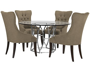Argent Khaki Round Table & 4 Upholstered Chairs
