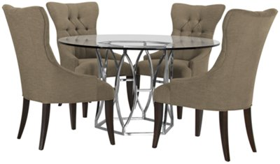 Argent Khaki Round Table U0026 4 Upholstered Chairs