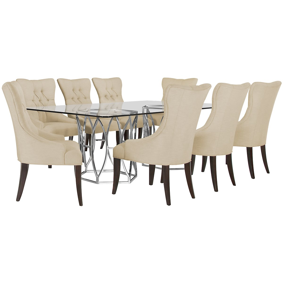 Argent Light Beige Glass Table & 4 Upholstered Chairs