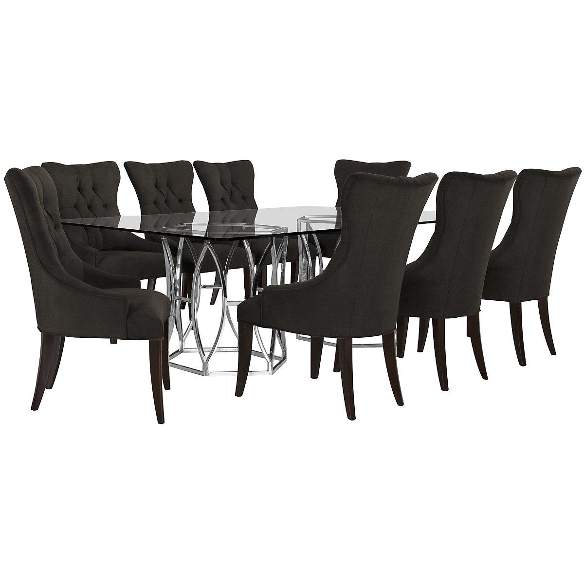 Argent Dark Gray Rectangular Table & 4 Upholstered Chairs