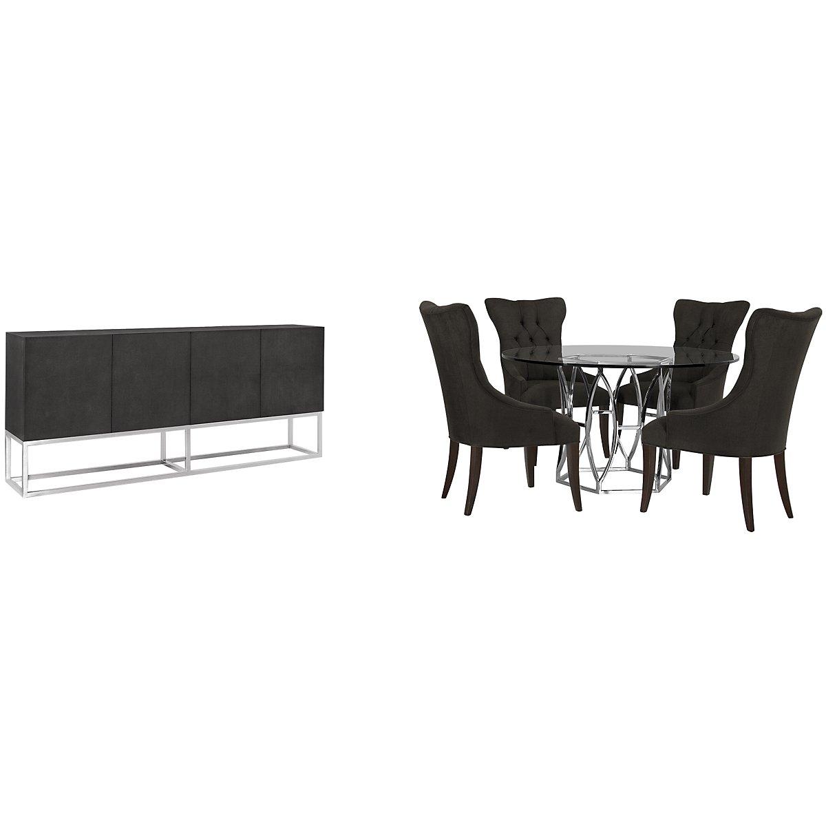 Argent Dark Gray Round Dining Room