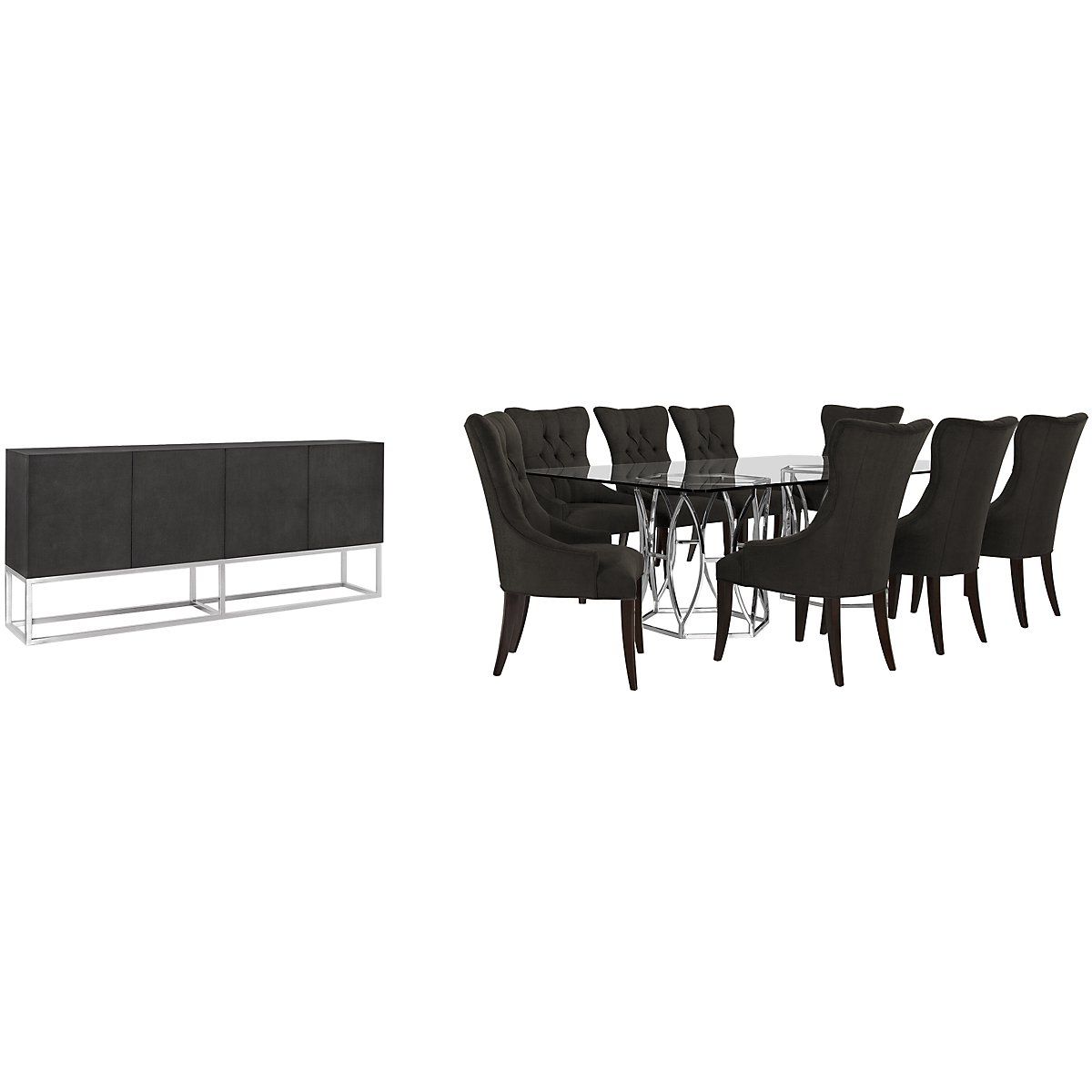 Argent Dark Gray Rectangular Dining Room