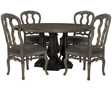 Belgian Oak Light Tone Round Table & 4 Wood Chairs