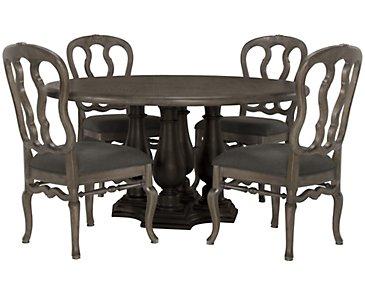Belgian Oak Light Tone Round Table & 4 Wood Chairs